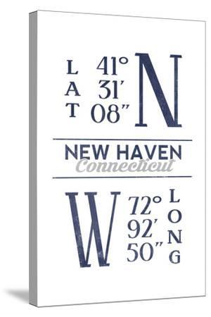 New Haven, Connecticut - Latitude and Longitude (Blue)-Lantern Press-Stretched Canvas Print