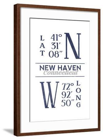 New Haven, Connecticut - Latitude and Longitude (Blue)-Lantern Press-Framed Art Print