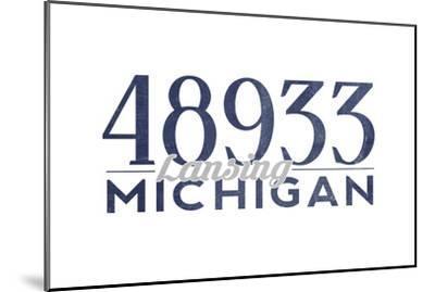 Lansing, Michigan - 48933 Zip Code (Blue)-Lantern Press-Mounted Art Print