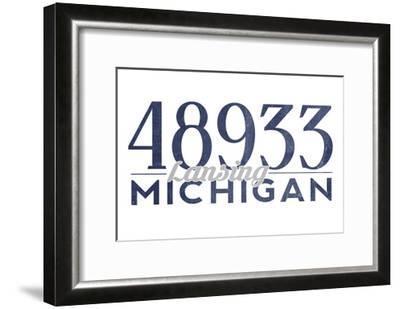 Lansing, Michigan - 48933 Zip Code (Blue)-Lantern Press-Framed Art Print