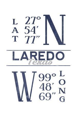 Laredo, Texas - Latitude and Longitude (Blue)-Lantern Press-Framed Art Print