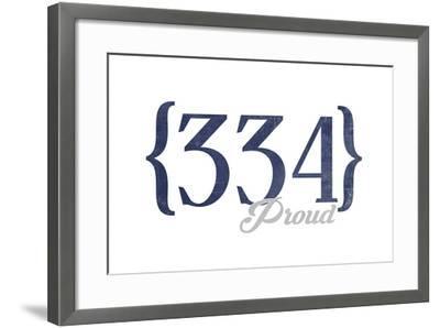 Birmingham, Alabama - 334 Area Code (Blue)-Lantern Press-Framed Art Print