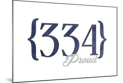 Birmingham, Alabama - 334 Area Code (Blue)-Lantern Press-Mounted Art Print