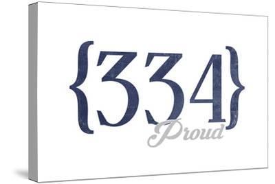 Birmingham, Alabama - 334 Area Code (Blue)-Lantern Press-Stretched Canvas Print