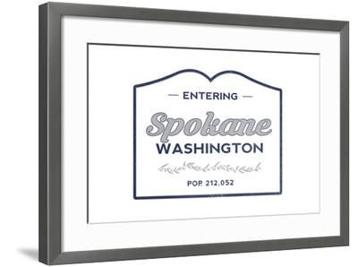 Spokane, Washington - Now Entering (Blue)-Lantern Press-Framed Art Print