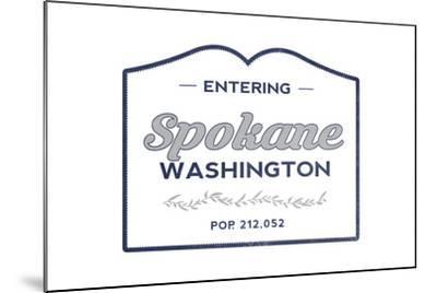 Spokane, Washington - Now Entering (Blue)-Lantern Press-Mounted Art Print