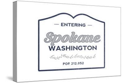 Spokane, Washington - Now Entering (Blue)-Lantern Press-Stretched Canvas Print