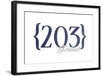 New Haven, Connecticut - 203 Area Code (Blue)-Lantern Press-Framed Art Print