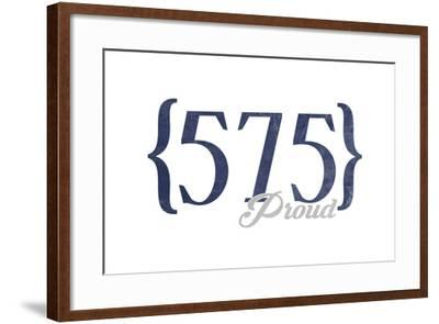 Las Cruces, New Mexico - 575 Area Code (Blue)-Lantern Press-Framed Art Print