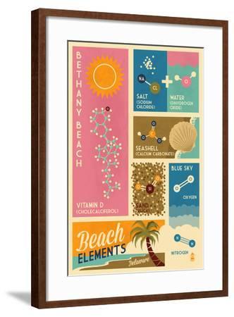 Bethnay Beach, Delaware - Chemical Beach Elements-Lantern Press-Framed Art Print