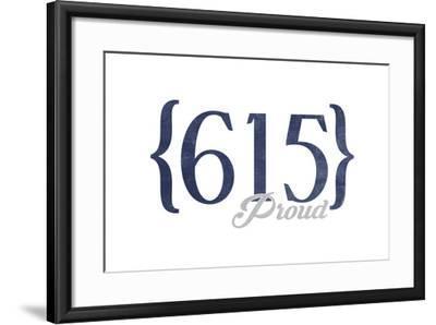 Murfreesboro, Tennessee - 615 Area Code (Blue)-Lantern Press-Framed Art Print