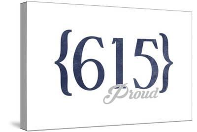 Murfreesboro, Tennessee - 615 Area Code (Blue)-Lantern Press-Stretched Canvas Print