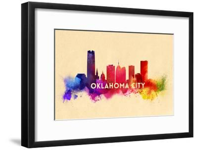 Oklahoma City, Oklahoma - Skyline Abstract-Lantern Press-Framed Art Print
