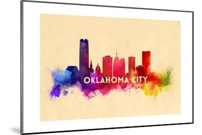 Oklahoma City, Oklahoma - Skyline Abstract-Lantern Press-Mounted Art Print