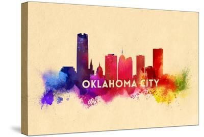 Oklahoma City, Oklahoma - Skyline Abstract-Lantern Press-Stretched Canvas Print
