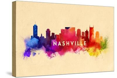 Nashville, Tennessee - Skyline Abstract-Lantern Press-Stretched Canvas Print