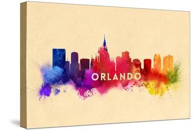 Orlando, Florida - Skyline Abstract-Lantern Press-Stretched Canvas Print