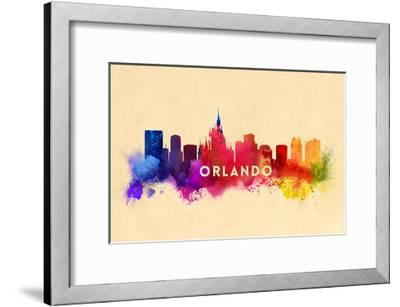 Orlando, Florida - Skyline Abstract-Lantern Press-Framed Art Print