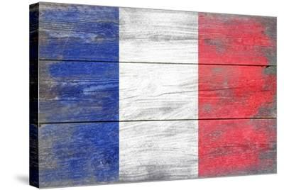 France Country Flag - Barnwood Painting-Lantern Press-Stretched Canvas Print