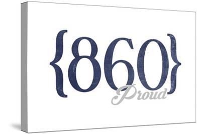 Hartford, Connecticut - 860 Area Code (Blue)-Lantern Press-Stretched Canvas Print