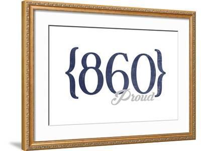 Hartford, Connecticut - 860 Area Code (Blue)-Lantern Press-Framed Art Print