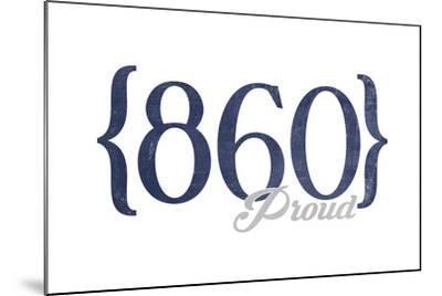 Hartford, Connecticut - 860 Area Code (Blue)-Lantern Press-Mounted Art Print