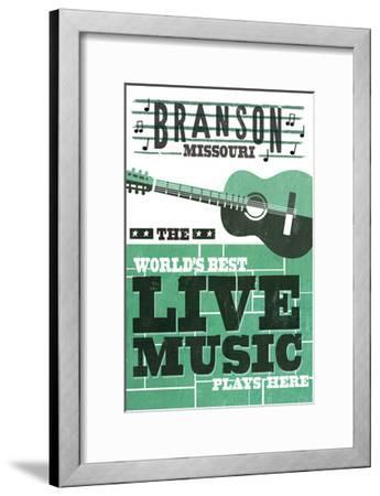 Branson, Missouri - Horizontal Guitar - Teal Screenprint-Lantern Press-Framed Art Print