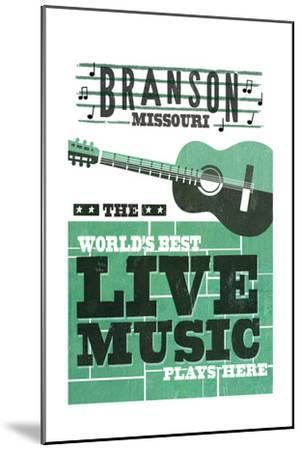 Branson, Missouri - Horizontal Guitar - Teal Screenprint-Lantern Press-Mounted Art Print