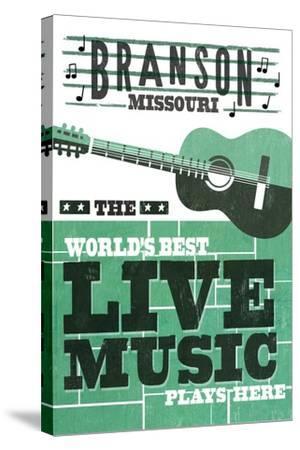 Branson, Missouri - Horizontal Guitar - Teal Screenprint-Lantern Press-Stretched Canvas Print