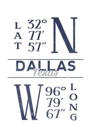 Dallas, Texas - Latitude and Longitude (Blue)-Lantern Press-Framed Art Print