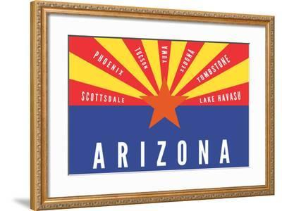 Arizona State Flag with Cities-Lantern Press-Framed Art Print
