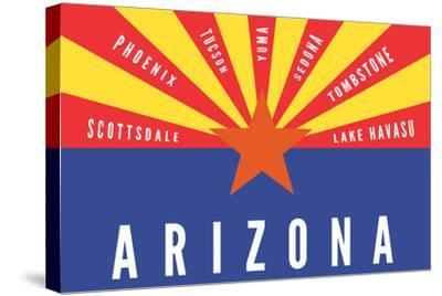 Arizona State Flag with Cities-Lantern Press-Stretched Canvas Print