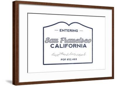 San Francisco, California - Now Entering (Blue)-Lantern Press-Framed Art Print