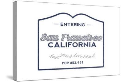 San Francisco, California - Now Entering (Blue)-Lantern Press-Stretched Canvas Print