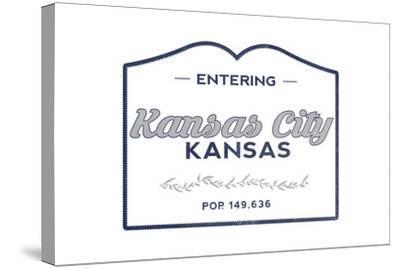 Kansas City, Kansas - Now Entering (Blue)-Lantern Press-Stretched Canvas Print