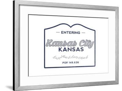 Kansas City, Kansas - Now Entering (Blue)-Lantern Press-Framed Art Print