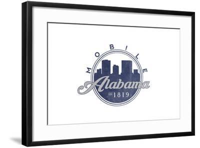 Mobile, Alabama - Skyline Seal (Blue)-Lantern Press-Framed Art Print
