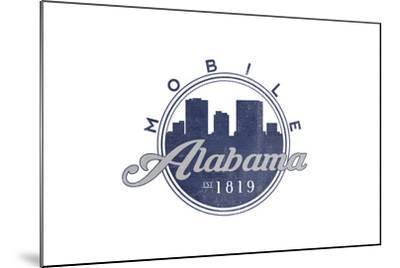 Mobile, Alabama - Skyline Seal (Blue)-Lantern Press-Mounted Art Print