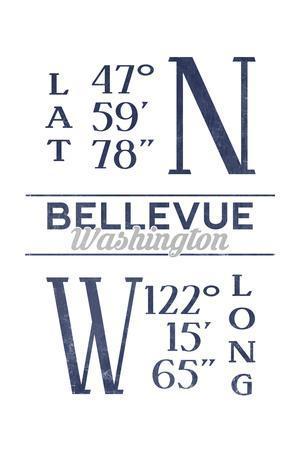 Bellevue, Washington - Latitude and Longitude (Blue)-Lantern Press-Framed Art Print