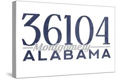 Montgomery, Alabama - 36104 Zip Code (Blue)-Lantern Press-Stretched Canvas Print