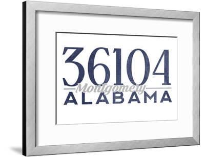 Montgomery, Alabama - 36104 Zip Code (Blue)-Lantern Press-Framed Art Print
