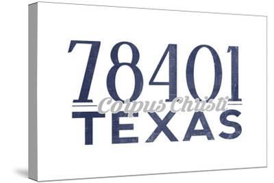 Corpus Christi, Texas - 78401 Zip Code (Blue)-Lantern Press-Stretched Canvas Print
