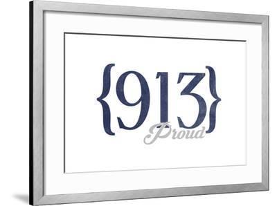 Kansas City, Kansas - 913 Area Code (Blue)-Lantern Press-Framed Art Print