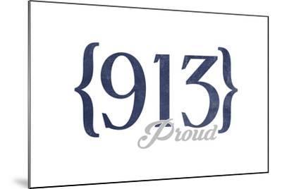Kansas City, Kansas - 913 Area Code (Blue)-Lantern Press-Mounted Art Print