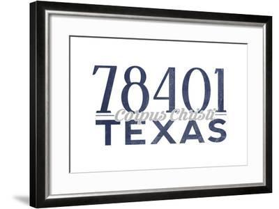 Corpus Christi, Texas - 78401 Zip Code (Blue)-Lantern Press-Framed Art Print