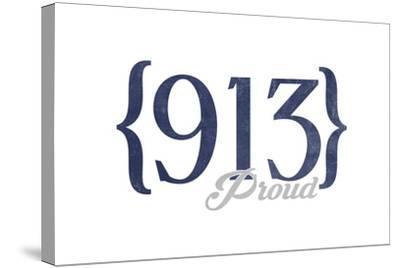 Kansas City, Kansas - 913 Area Code (Blue)-Lantern Press-Stretched Canvas Print