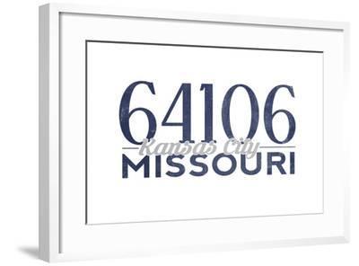 Kansas City, Missouri - 64106 Zip Code (Blue)-Lantern Press-Framed Art Print
