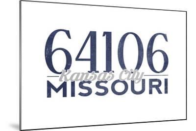Kansas City, Missouri - 64106 Zip Code (Blue)-Lantern Press-Mounted Art Print
