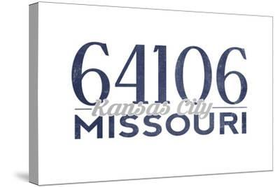Kansas City, Missouri - 64106 Zip Code (Blue)-Lantern Press-Stretched Canvas Print