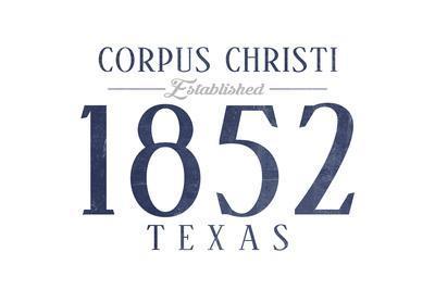 Corpus Christi, Texas - Established Date (Blue)-Lantern Press-Framed Art Print